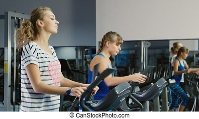 At a training session. Two attractive women are trained in the gym