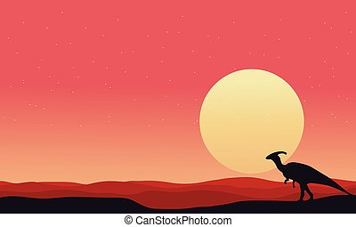 At afternoon Parasaurolophus landscape silhouettes
