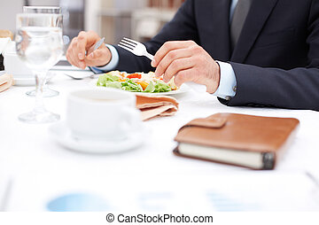 At business lunch