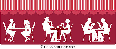 Silhouettes of people sitting near table and talking