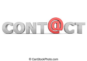 AT Contact - Grey and Red - glossy grey word CONTACT -...