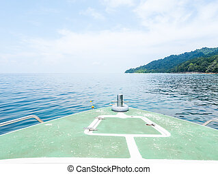 At deck of floating boat in the sea