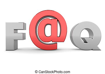 AT FAQ - Grey and Red - glossy grey word FAQ - letter a is...