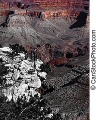At Grand Canyon national park, USA in black and white
