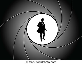 At gun point - Silhouette of the businessman at gun point