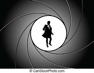 At gun point - Silhouette of the businessman at gun point
