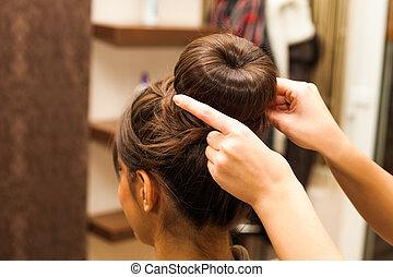 at hairdresser