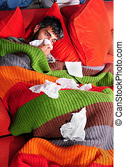 At Home with the Flu and Kitty - A man at home with the flu....