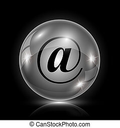 Shiny glossy icon - glass ball on black background