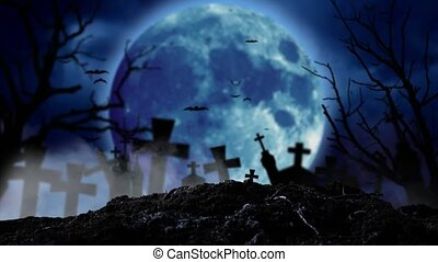 At night, a moon shines brightly in the cemetery with lightning and bats fly. Smoky background