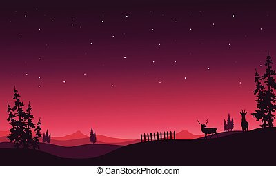 At night Christmas scenery of silhouette