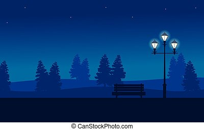At night garden scenery with street lamp