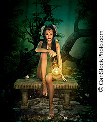 3d computer graphics of a girl with lantern sitting on a bench in the forest