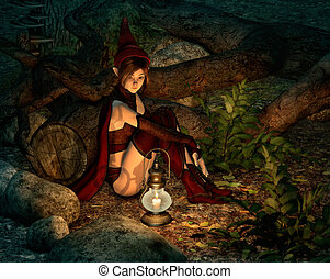 At Night in the Fairy Forest, 3d CG - 3d computer graphics...
