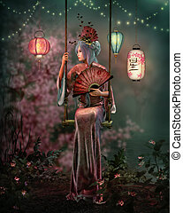 At Night in the Lantern Garden, 3d CG