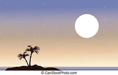 At night islands landscape of silhouette