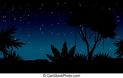 At night jungle with tree silhouette landscape vector illustration