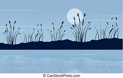 At night lake scenery with moon