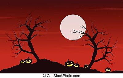 At night landscape Halloween with pumpkin