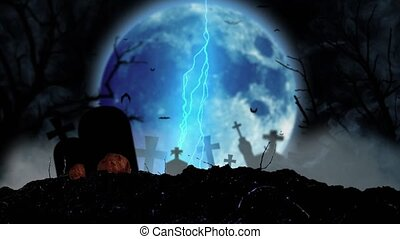 At night on the cemetery moon shines by lightning near the...