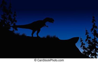 At night silhouette of Allosaurus