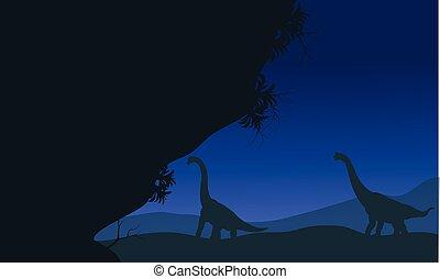 At night silhouette of brachiosaurus