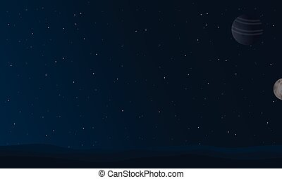 At night space landscape vector