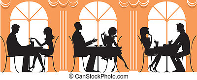 At Restaurant - Silhouettes of three couples dinnig at...