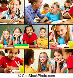 At school - Collage of smart schoolchildren and teacher in ...