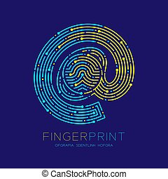 At sign icon Fingerprint scan pattern logo dash line, digital technology online concept, Editable stroke illustration yellow and blue isolated on dark blue background with Fingerprint text, vector