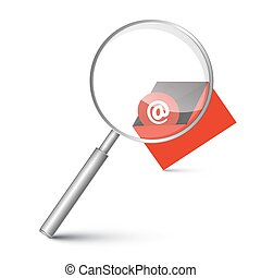 At Sign in Red Envelope - Email Icon with Magnifying Glass Vector Illustration