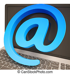 At Sign Keyboard Shows Online Mailing Communication