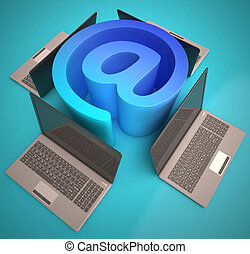 At Sign Laptops Shows Email on Web - At Sign Laptops Showing...