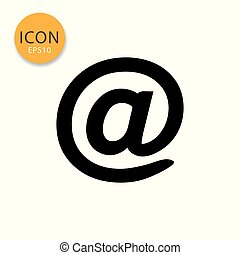 At sign mail icon on white background.