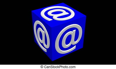 At Sign Symbol concept on rotating cube in blue color
