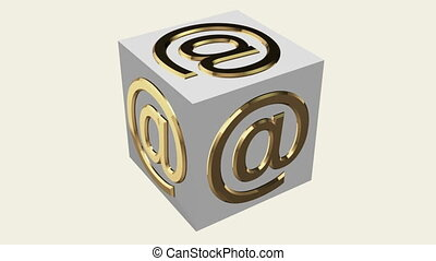 At Sign Symbol concept on rotating cube in white color