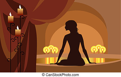 At Spa - Vector silhouette of a woman at spa procedures
