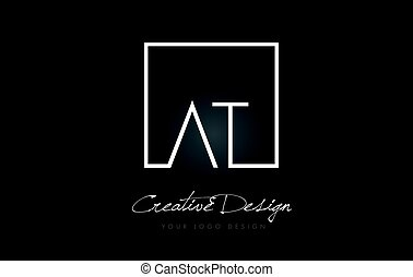 AT Square Frame Letter Logo Design with Black and White Colors.
