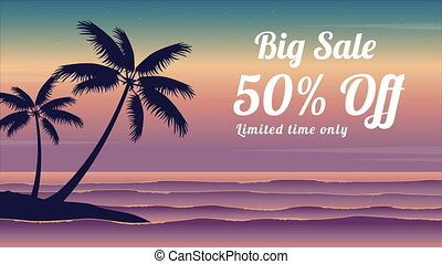 At sunrise beach landscape summer sale animated