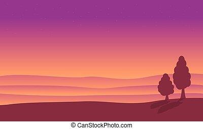 At sunrise desert landscape of silhouettes vector