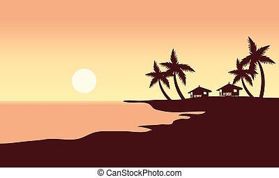At Sunset in beach scenery