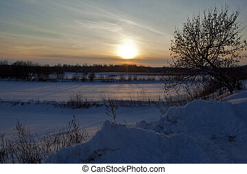 At sunset in January of the day