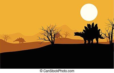 At sunset stegosaurus in fields scenery
