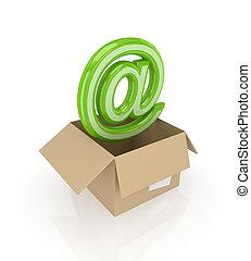 AT symbol in a carton box.