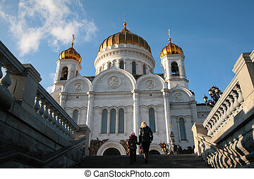 At temple of Christ of  Savior in Moscow
