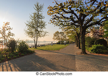 At the banks of river Rhine in Mainz, Germany - The banks of...