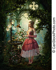 3d computer graphics of a girl, birds and a birdbath