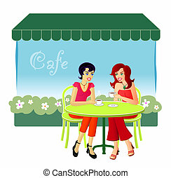 An illustration of two female friends catching up over drinks at a cafe.