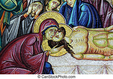 Mosaic of Jesus Christ at the wall of the Church of the Holy Sepulcher . Jerusalem, Israel