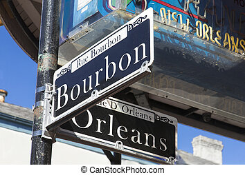 Street sign for the world famous Bourbon Street in the French Quarter in New Orleans famous for its party atmosphere